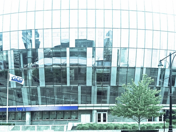 The walls of the Sprint Center reflect the downtown KC skyline.