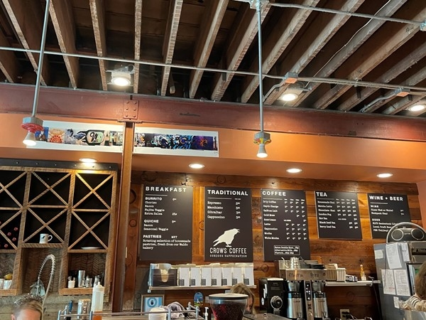 Visit Crows Coffee located in South Plaza; Waldo and Red Bridge. Support local and be happy