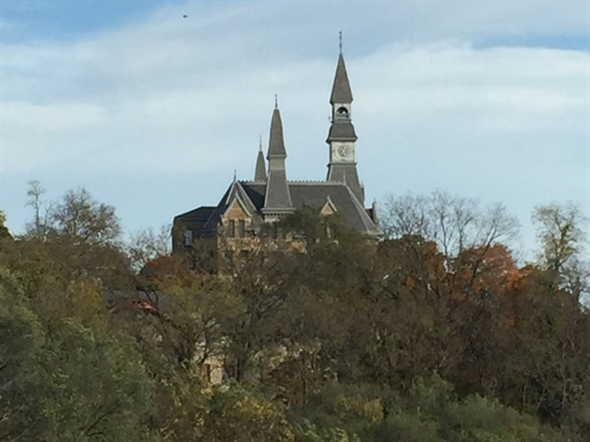 View of Park College from the deck of Wines by Jennifer