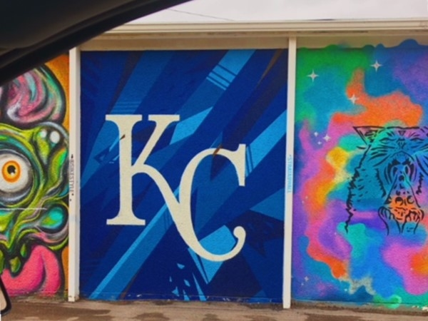 KC Royals art wall is at 17th and Oak.This is right on the sidewalk