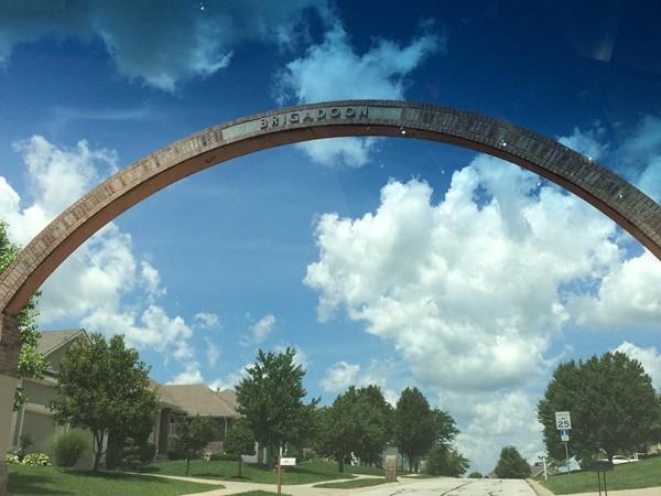 Large arch into Brigadoon Subdivision