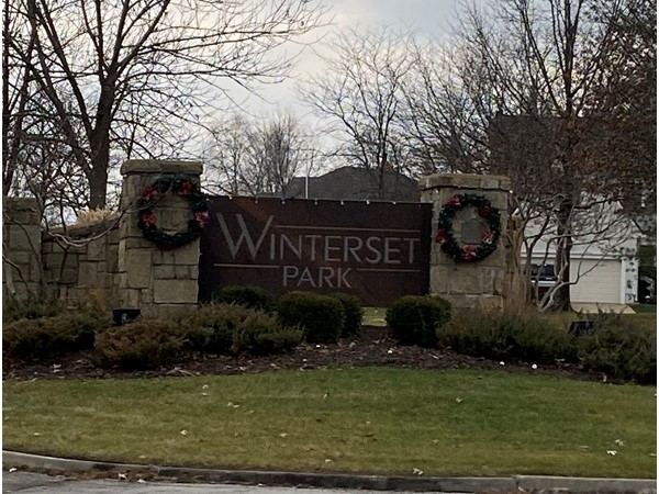 One of three entrances to Winterset Park