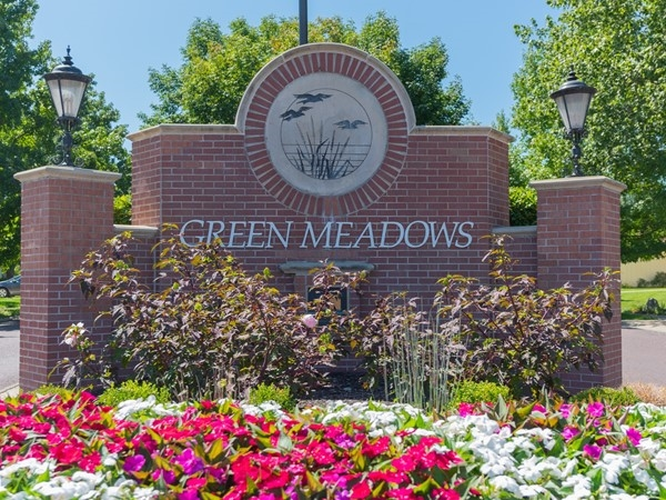 Green Meadows entry monument in Overland Park  - Blue Valley Schools