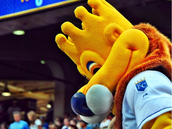 Sluggerrr is the popular mascot for the AL Champion Kansas City Royals