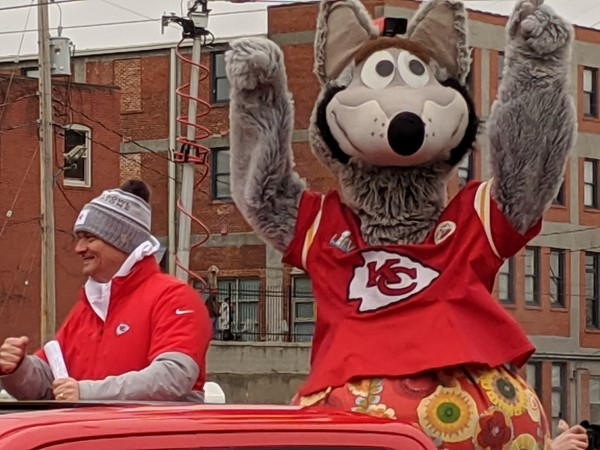 Mitch Holthus and KC Wolf rolling through the River Market during the Chiefs Superbowl Parade