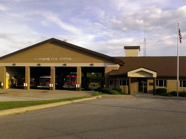 Spit-shined fire trucks stand guard over Claycomo