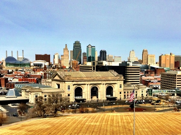 The skyline of downtown Kansas City from the Liberty Memorial