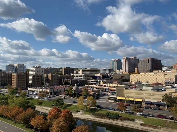 Balcony view overlooking downtown KCK