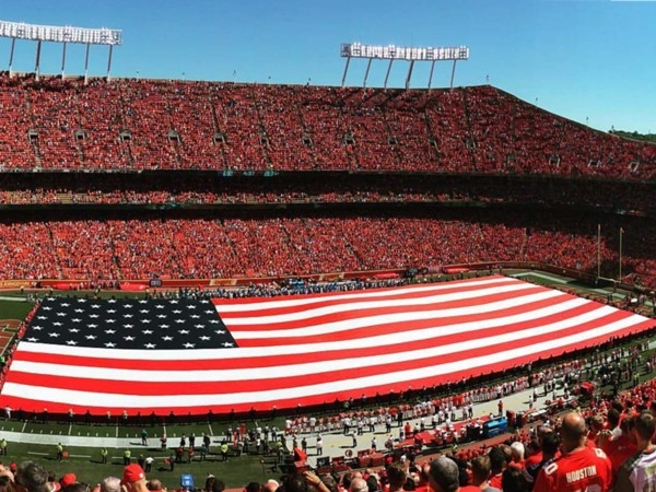 Chiefs Stadium on 9/11! It's great to be American! Thank you to all the military and our veterans