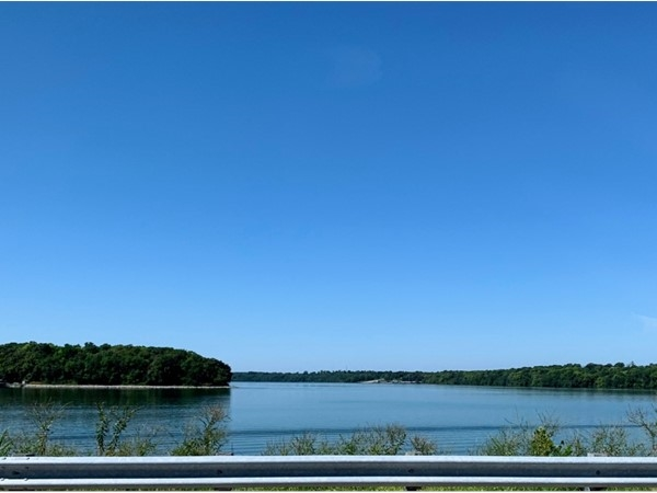 View of Blue Springs Lake west of Woods Chapel Road bridge