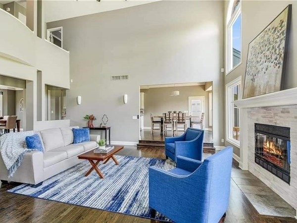 A beautifully staged sitting area at Lakewood Subdivision, in Lee's Summit, by Staging Dreams