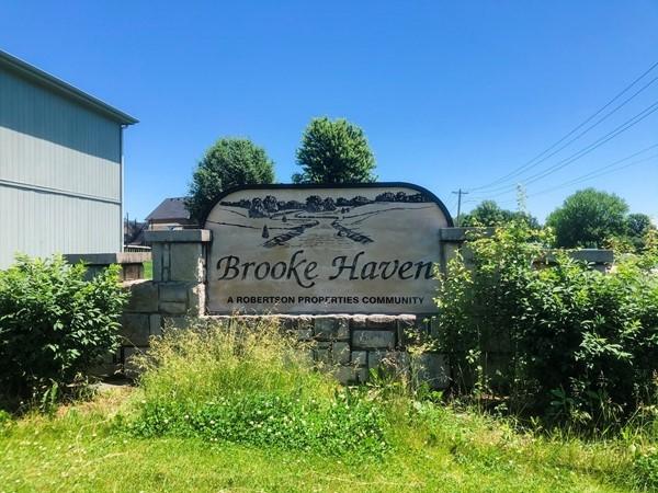 Brooke Haven subdivision entrance