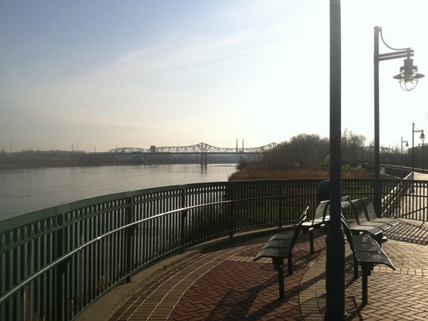 Benches along the river walk at E.H. Young Riverfront Park.