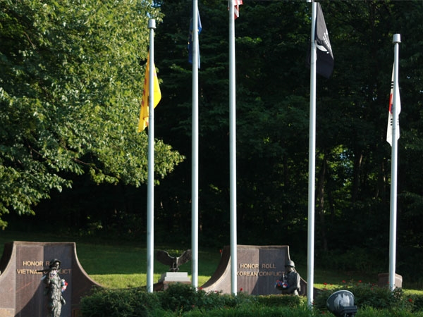A beautiful Veterans Memorial nestled in Wyandotte County Park.