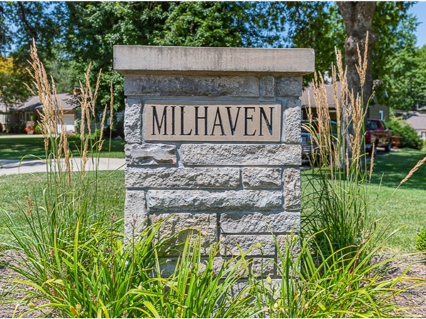 Neighborhood entry monument for Milhaven neighborhood in Mission KS