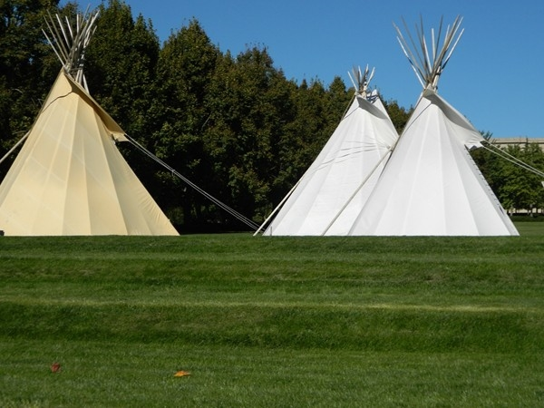 Tepees as part of The Plains Indians exhibit at The Nelson
