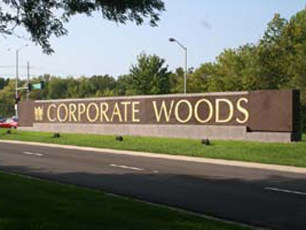 Entrance to Corporate Woods in Overland Park, KS.