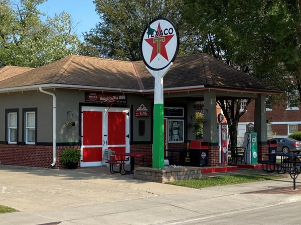 The Filling Station is a great locally owned barbecue restaurant. Just look for the Texaco sign