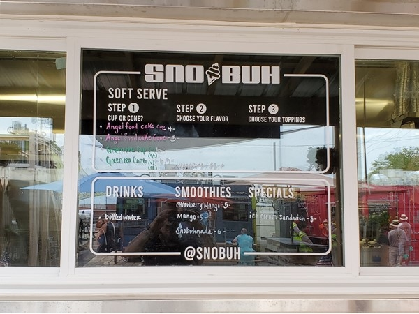 Sno Buh menu options