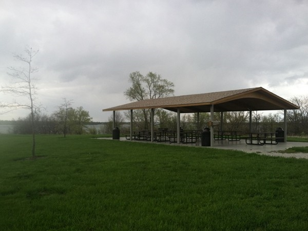 Pavilions on the lake can be rented out for picnics