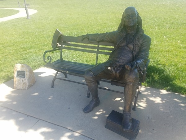 You might sit a spell with Ben Franklin to enjoy the fountains at the Olathe Community Center