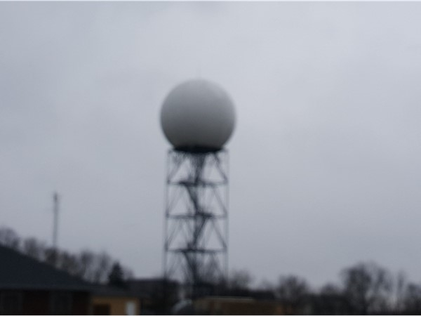 Driving by the weather Doppler in Pleasent Hill on a cold rainy day