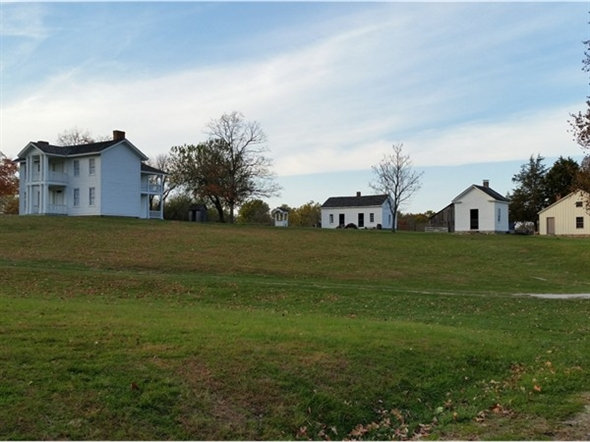 View of some of the historic buildings awaiting you at Missouri Town 1855 in Blue Springs