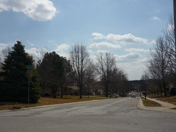 Northwest 12th Street from Northwest Roanoke Drive looking south in Timber Oaks