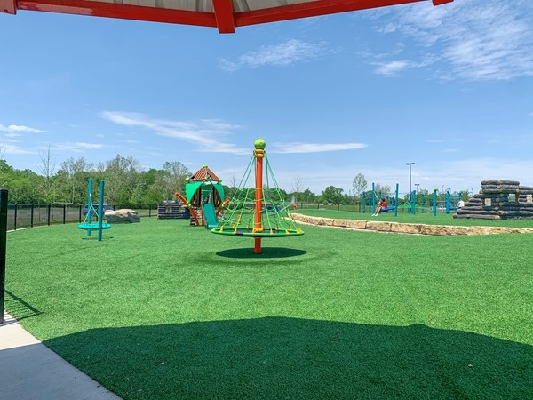Hodge Park's new playground on a sunny day