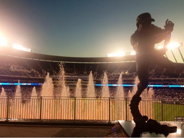 Baseball sculpture and fountains at Kauffman Stadium