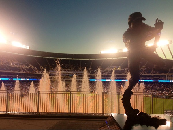 Baseball sculpture and fountains at Kauffman Stadium