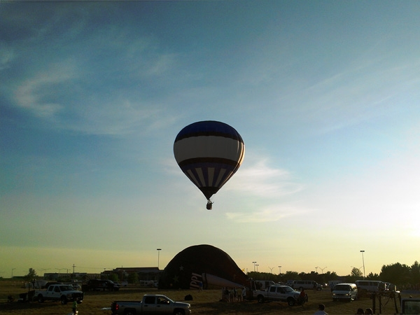 Balloon in flight at Midwest Balloon Fest 2012