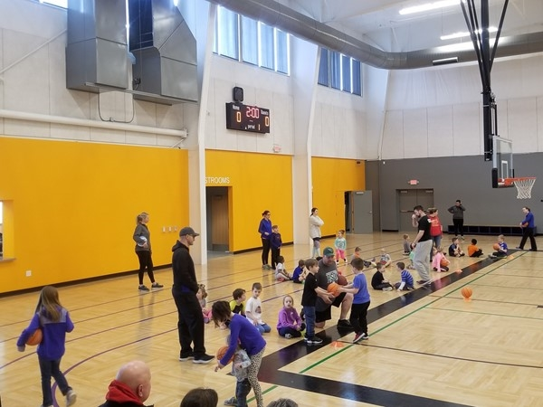 Basketball practice at the Raymore Community Center, by Shadowood Subdivision, in Raymore