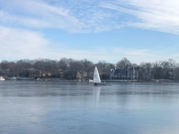 Even in the freezing winter, the Weatherby Lakers still find a way out on the lake. Ice boating