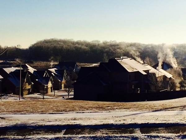 Winter rooftops in Woodneath Farms