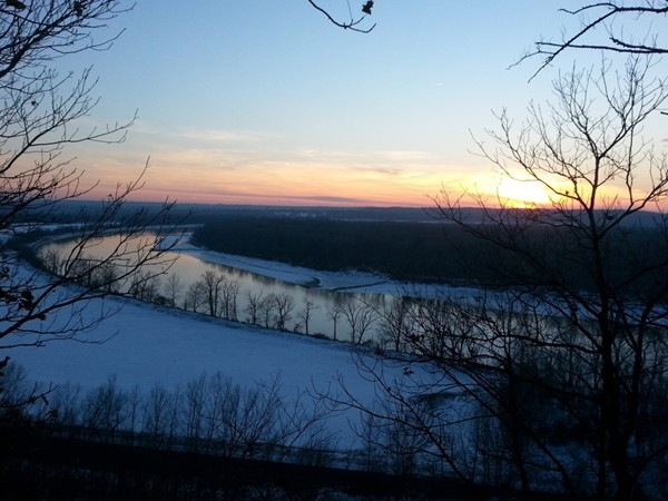 Sunset over the Missouri River at Weston Bend State Park