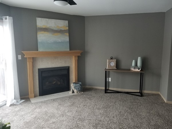 A beautifully staged living room at Shadow Glen Townhomes