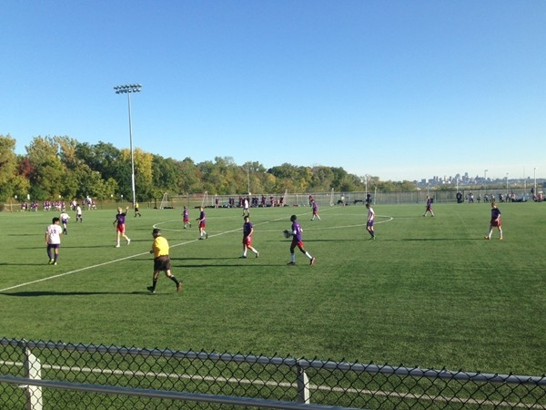 Park Hill South and Park Hill Soccer Teams Playing at the Kick Out Cancer Soccer Challenge