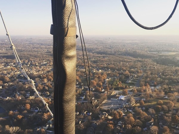 Floating above the city of Lee's Summit from a RE/MAX hot air balloon