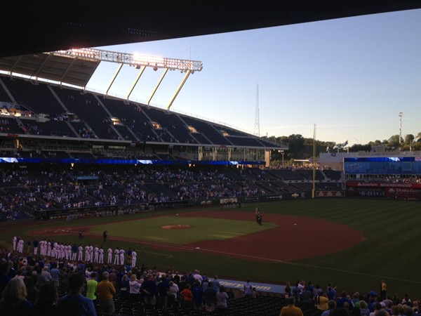 Pledge of Allegiance before the first pitch at Kauffman Stadium