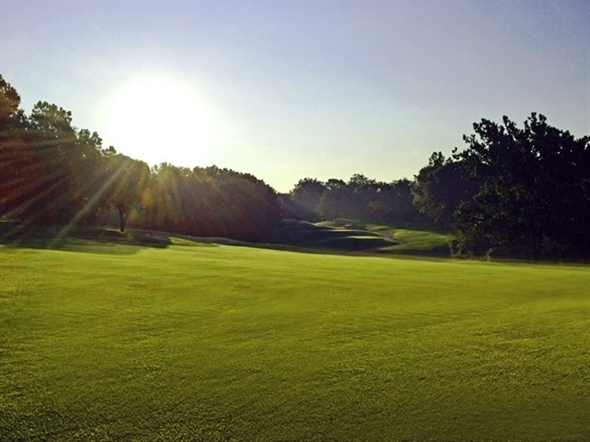 The fairways are even prettier with a beautiful sunrise as a backdrop at The Deuce in Parkville