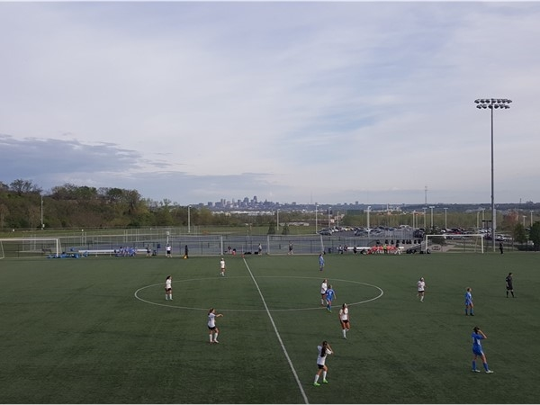 It's girls soccer season. Park Hill South High School, Riverside. Overlooking downtown
