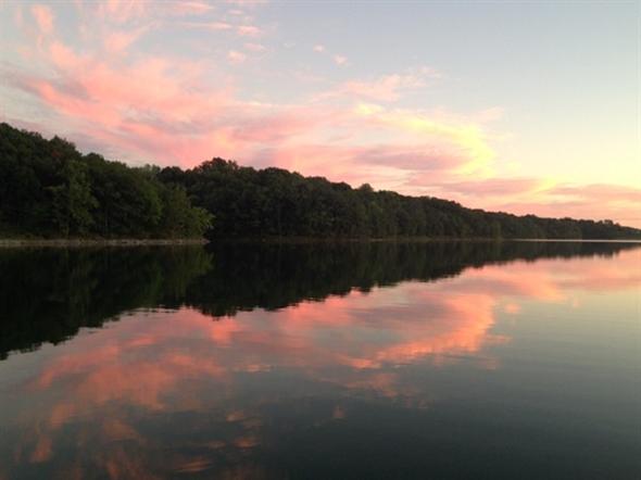 Beautiful sunset over Riss Lake.