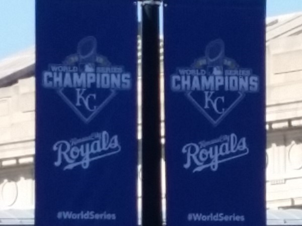 World Series banners displayed in front of Union Station in Kansas City
