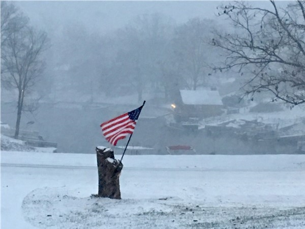 Patriotic winter shot at Weatherby Lake
