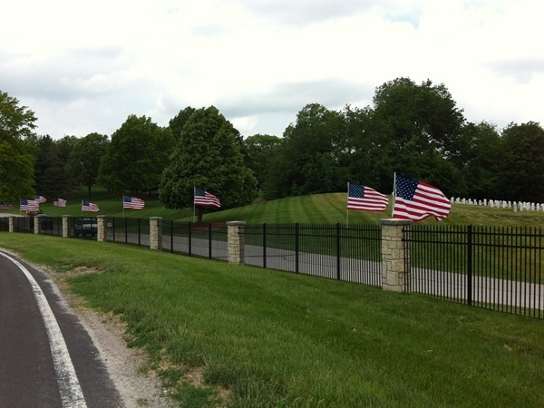 Flags wave in the Kansas sunshine on Memorial Day