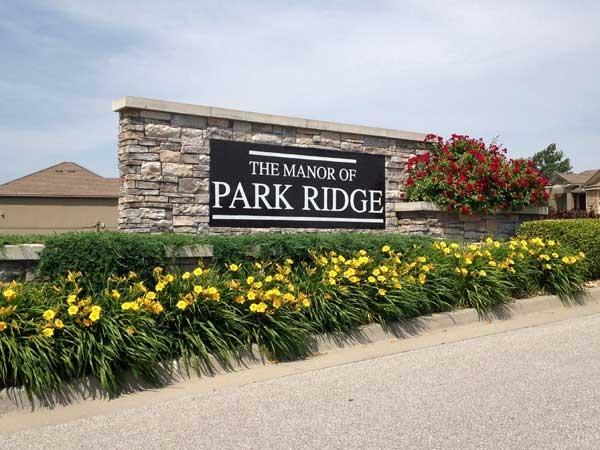 The Manor of Park Ridge subdivision entrance.