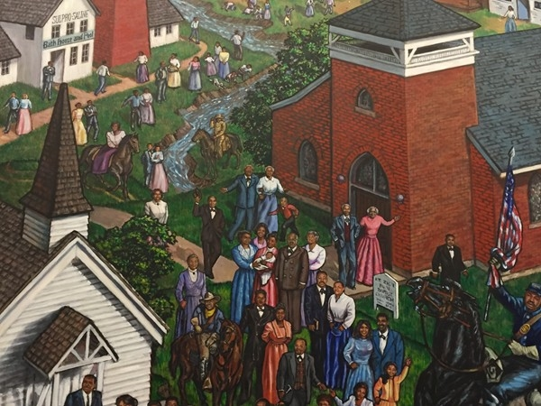 A small view of the African American Legacy Mural at the Clay County Courthouse