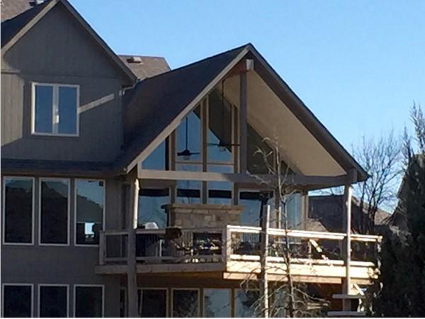 Second floor outdoor deck fireplace