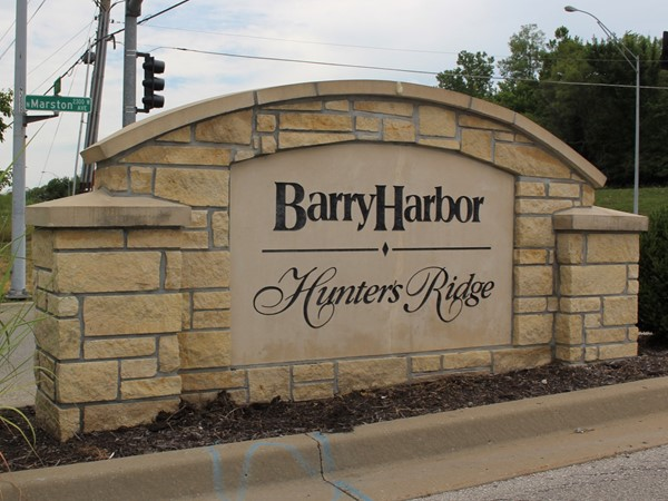 Neighborhood monument at Barry Road